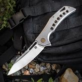 Olamic Cutlery Mid-Tech Swish Flipper 3.75 inch Hand Rubbed Satin Elmax Blade,  Bead Blasted Titanium Handles with Gold Hole Milled Pattern and File Worked Backspacer
