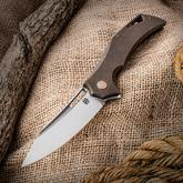 Olamic Cutlery Mid-Tech Swish Flipper 3.75 inch Satin Elmax Blade, Kinetic Earth Titanium Handles with File Worked Backspacer