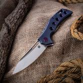 Olamic Cutlery Mid-Tech Swish Flipper 3.75 inch Satin Elmax Blade, Kinetic Sky Titanium Handles with Purple Hole Milled Pattern