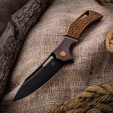 Olamic Cutlery Mid-Tech Swish Flipper 3.75 inch Black PVD Elmax Blade, Molten Bronze Titanium Handles with Faux Bolsters
