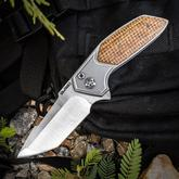Rod Olson Custom JV Mini Redemption Flipper 2.875 inch Satin RWL-34 Tanto Blade, Titanium Handles with Thunderstorm Kevlar Inlays