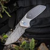 Rod Olson Custom JV Redemption Flipper 3.25 inch Nichols Blackout Damascus Tanto Blade, Titanium Handles with Lightning Strike Carbon Fiber Inlays