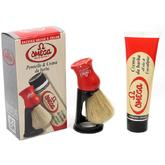 Omega Shaving Set with Cream, Brush and Stand