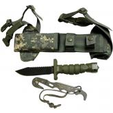 Ontario ASEK Survival Knife System FG/UC 5 inch Blade, Strap Cutter, Sheath