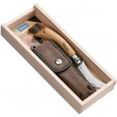 Opinel Mushroom Knife Folding 3 inch Sandvik 12C27 Hawkbill Blade, Oak Wood Handle, Nylon Sheath, Gift Box