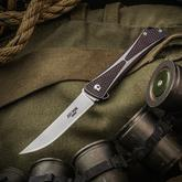 Jeff Park Mid-Tech Bones Flipper 3.625 inch CPM-154 Satin Blade, Milled Purple Titanium Handles
