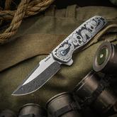 Enrique Pena Custom Engraved Talon Liner Lock Flipper 3.5 inch Two-Tone Nichols Damascus Blade, Snake Skull Engraved Stainless Steel Handles, Timascus Clip