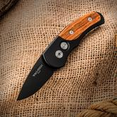 Protech 4407-C Runt J4 AUTO 1.94 inch 154CM Black Plain Blade, Aluminum Handles with Cocobolo Wood Inlays