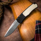 Pro-Tech/Whiskers BR-1.51 Magic Bolster Release Tuxedo AUTO Folding Knife 3.1 inch 154CM Stonewashed Plain Blade, Black Aluminum Handles with Ivory Micarta Inlay