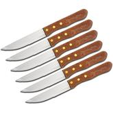 Remington Set of 6 Steak Knives 5 inch Blades, Natural Wood Handles