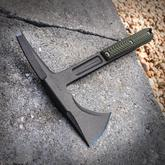 RMJ Tactical Kestrel Tomahawk 13 inch Overall, Dirty Olive G10 Handle, Kydex Sheath with High Ride MOC Straps