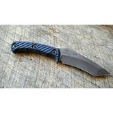 RMJ Tactical Peregrine Fixed 4.25 inch Tungsten  S30V Recurve Tanto Blade, Black G10 Handles, Hybrid Leather/Kydex Sheath