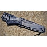 RMJ Tactical Jungle Combat Fixed 7 inch Nitro-V Stainless Steel, Black G10 Handles, Leather Sheath with Low Ride Straps