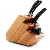 Robert Welch Signature 6 Piece Oak Step-Up Block Set, German DIN 1.4116 Stainless Steel Blades