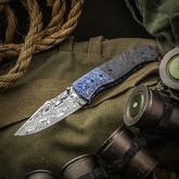 Sean O'Hare Custom F2K Folding Knife 3.5 inch Thor Damasteel Blade, Marble Carbon Fiber Handles with Zircuti Bolsters and Clip