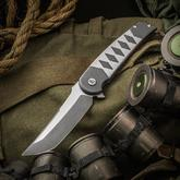 SharpByDesign Custom Hurricane Flipper 4 inch CPM-S35VN Tanto Blade, Titanium Handles with Katana Pattern
