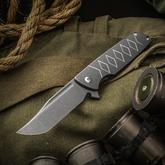 SharpByDesign Custom Mini Typhoon Flipper 3.5 inch CPM-S90V Clip Point Tanto Blade, 3D Machined Titanium Handles with Katana Pattern