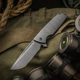 SharpByDesign Custom Mini Typhoon Flipper 3.5 inch CPM-S90V Tanto Blade, 3D Machined Titanium Handles with Katana Pattern
