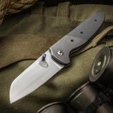 Sheepdog Knives Custom Deviant Folding Knife 3.375 inch AEB-L Hand Rubbed Satin Blade, Smooth Gray G10 Handle with Titanium Bolster