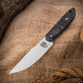 Sheepdog Knives Custom Kwaipoon Fixed 3.7 inch AEB-L Hand Rubbed Satin Blade, Marble Carbon Fiber Handles, Kydex Sheath