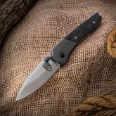Sheepdog Knives Custom Spitfire Folding Knife 3 inch AEB-L Hand Rubbed Satin Blade, Marble Carbon Fiber Handle with Titanium Bolster, Timascus Fittings