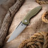 Shirogorov Model 111 Flipper 4.25 inch S30V Drop Point Blade, OD Green G10 Handles