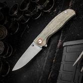 Shirogorov Model F3 Flipper 3.875 inch Cronidur 30 EVO Drop Point Blade, Olive Micarta Handles