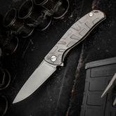 Shirogorov Model F95T Flipper 3.875 inch M390 Drop Point Blade, Milled T-Pattern Titanium Handles