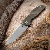 Shirogorov Hati Flipper 3.875 inch Vanax 37 Drop Point Blade, Milled OD Green G10 and Titanium Handles