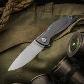 Shirogorov Neon Ultra-Lite Flipper 3.25 inch S30V Drop Point Blade, Stonewashed Milled Titanium Handles