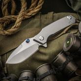 Skike Custom Knives Rogue Shark Flipper 4 inch CPM-20CV Hollow Ground Blade with Swedge, Titanium Handles