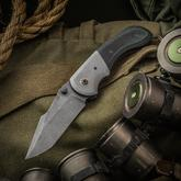 SK Knives Custom Synergy Hybrid Folding Knife 3.55 inch Nichols CPM-3V Raindrop Damascus Blade, Green/Black G10 Handle with Titanium Bolster