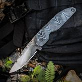 Stray Cat Knives Custom Drop Point Friction Folder 3 inch S30V Natural Blade, Milled Black/Gray G10 Handles