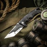 Brian Tighe Custom Fighter Flipper 3.75 inch Carbon Fiber/RWL-34 Core Tanto Blade, Milled Carbon Fiber Handles