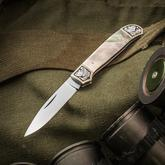 Tim Britton Knives Custom Gent Traditional Folder 2.5 inch BG-42 Pen Blade, Black Lip Mother of Pearl Handles with 24kt Gold Engraved Bolsters