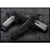 Todd Begg Custom Titanium 1911 Field Marshal Grips, Silver and Black