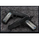 Todd Begg Custom Titanium 1911 Field Marshal Grips, Stonewashed and Silver