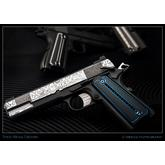 Todd Begg Custom Titanium 1911 Kwaiken Grips, Black and Blue