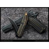 Todd Begg Custom Titanium 1911 Kwaiken Grips, Black and Gold