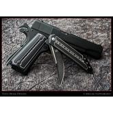 Todd Begg Custom Titanium 1911 Kwaiken Grips, Black and Silver