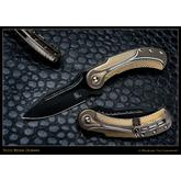 Todd Begg Steelcraft Series Field Marshall Flipper 3.95 inch S35VN Black PVD Blade, Milled Bronze, Gold and Silver Titanium Handles