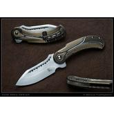 Todd Begg Steelcraft Series Field Marshall Flipper 3.95 inch S35VN Hand Rubbed Satin Blade, Milled Bronze, Gold and Silver Titanium Handles