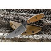 TOPS Knives Lioness Rockies Edition Fixed 4.13 inch Stonewashed 1095 Blade, Tan Canvas Micarta Handles, Kydex Sheath