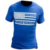 TOPS Knives One Life One Knife Flag Logo T-Shirt Blue, Large