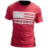 TOPS Knives One Life One Knife Flag Logo T-Shirt, Red, Large