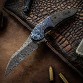 Jeff VanderMeulen Custom Persecutor #12 Flipper 3.25 inch Odin Heim Damasteel Blade, Marble Carbon Fiber Handles with Black Timascus Bolsters and Clip
