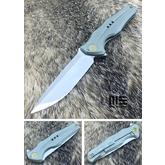 We Knife Company 601B Flipper 3.82 inch S35VN Hand Rubbed Satin Blade, Green Stonewashed Titanium Handles