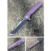 We Knife Company 604T Flipper 3.82 inch S35VN Black Two-Tone Tanto Blade, Purple Dragon Scale Titanium Handles