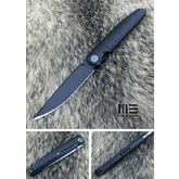 We Knife Company 618A Folding Knife 3.94 inch M390 Black Stonewashed Blade, Black Titanium Handles