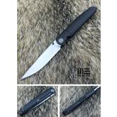 We Knife Company 618B Folding Knife 3.94 inch M390 Satin Blade, Black Titanium Handles